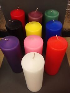 Candle Pillar 7 Day Black Blue Brown Green Orange Pink Purple Red