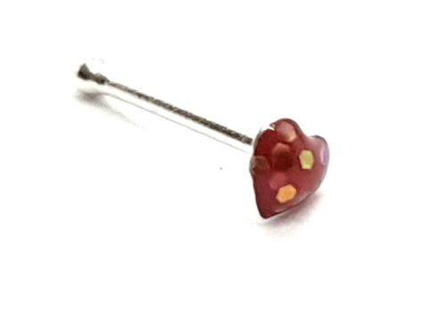 0.6mm Sterling Silver 6mm Bone Ball Ended Nose Stud Red Heart Sparkle 22g