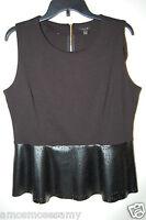 Apt 9 Womens Peplum Black Laser Faux Leather Blouse Top Knit Zipper L