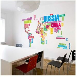 Wall stickers colour lage world map art vinyl decal home decor image is loading wall stickers colour lage world map art vinyl gumiabroncs Choice Image