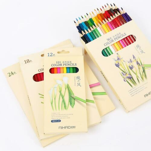Drawing Pencils Set Different Colores 12//18//24//36 Nature Wood Pencil School Draw