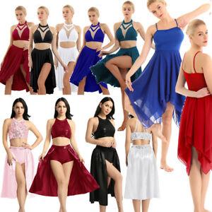 Women-Ballet-Dance-Lyrical-Leotard-Dress-Chiffon-Gymnastics-2PCS-Top-Skirt-XS-XL