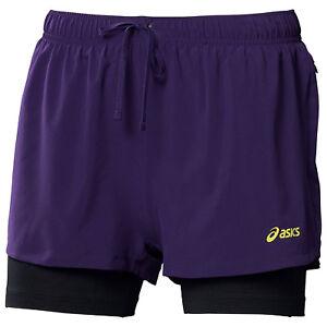 7da80552df5 Image is loading Asics-2-in-1-Womens-Running-Shorts-Purple