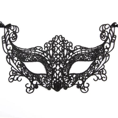 BLACK VENETIAN MASQUERADE EYE LACE MASK HALLOWEEN PARTY FANCY DRESS UK