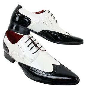 Details about Men shoes white black patent leather smart casual laced vintage shiny show original title