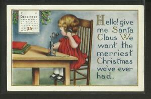 Vintage Postcard-Calling Santa Claus, Embossed-Early 1900's, Posted{Lakeport,NH}