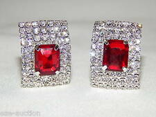 RED RUBY & CLEAR RHINESTONE CRYSTAL CLIP SILVER ENGAGEMENT EARRINGS