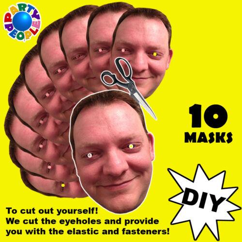 10 x foto personalizzato Viso Maschere Kit per stag /& gallina notte e festa di compleanno