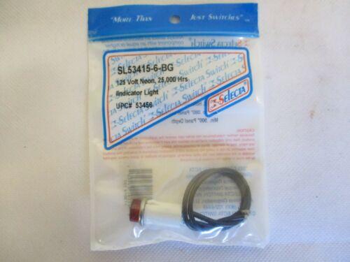 NEW SELECTA SL53415-6-BG RED INDICATOR LIGHT 125V NEON 25.000 HOURS