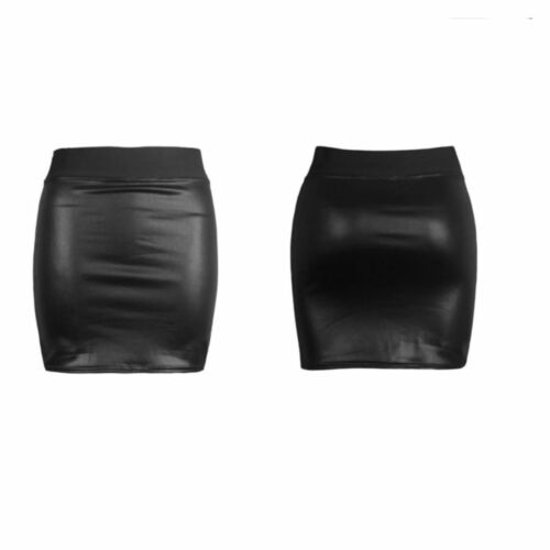 NEW WOMENS BLACK PVC LEATHER LOOK MINI PENCIL TUBE BODYCON SKIRT SIZE 8-26*WETsw
