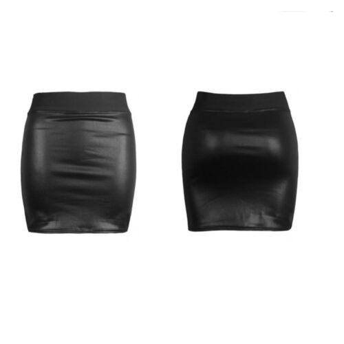 NEW WOMENS BLACK PVC LEATHER LOOK MINI PENCIL TUBE BODYCON SKIRT SIZE 8-26*WETsw