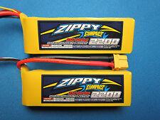 2 ZIPPY 2200mAh 3S 11.1V XT60 LIPO BLADE 400 T-REX 450 DJI PHANTOM FPV QUAD E325