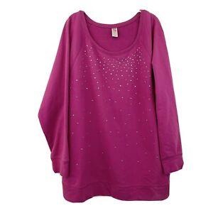 Livi Active Lane Bryant Pink Studded Embellished Sweatshirt Women's Plus 18 / 20