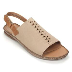 Details about Clarks Artisan Women's Sarla Forte Open Toe Flat Sandal Size 5 Sand Leather