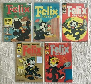 Silver-Age-Lot-of-5-FELIX-THE-CAT-Comics-s-12-48-62-77-113-avg-VG