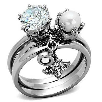 TK1497pb  SOLITAIRE PEARL CHARMS DANGLE WEDDING CZ RING WOMENS STAINLESS STEEL