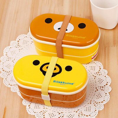 Plastic Box Double Layer Rilakkuma Bento With Free Chopsticks Kids Lunch Box