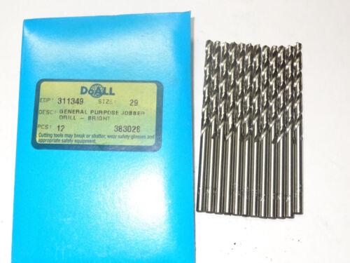 12 new GREENFIELD #29 Jobber Length HSS Twist Drill Bits bright finish 311349