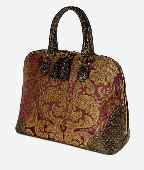 TERRIDA Gold Handbag Venetian Brocade Real Leather & Damask Silk Handmade