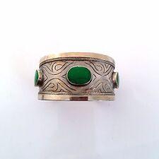Ethnic Tribal Turkoman Cuff Bracelet Green Settings Scrolled Stylized Design
