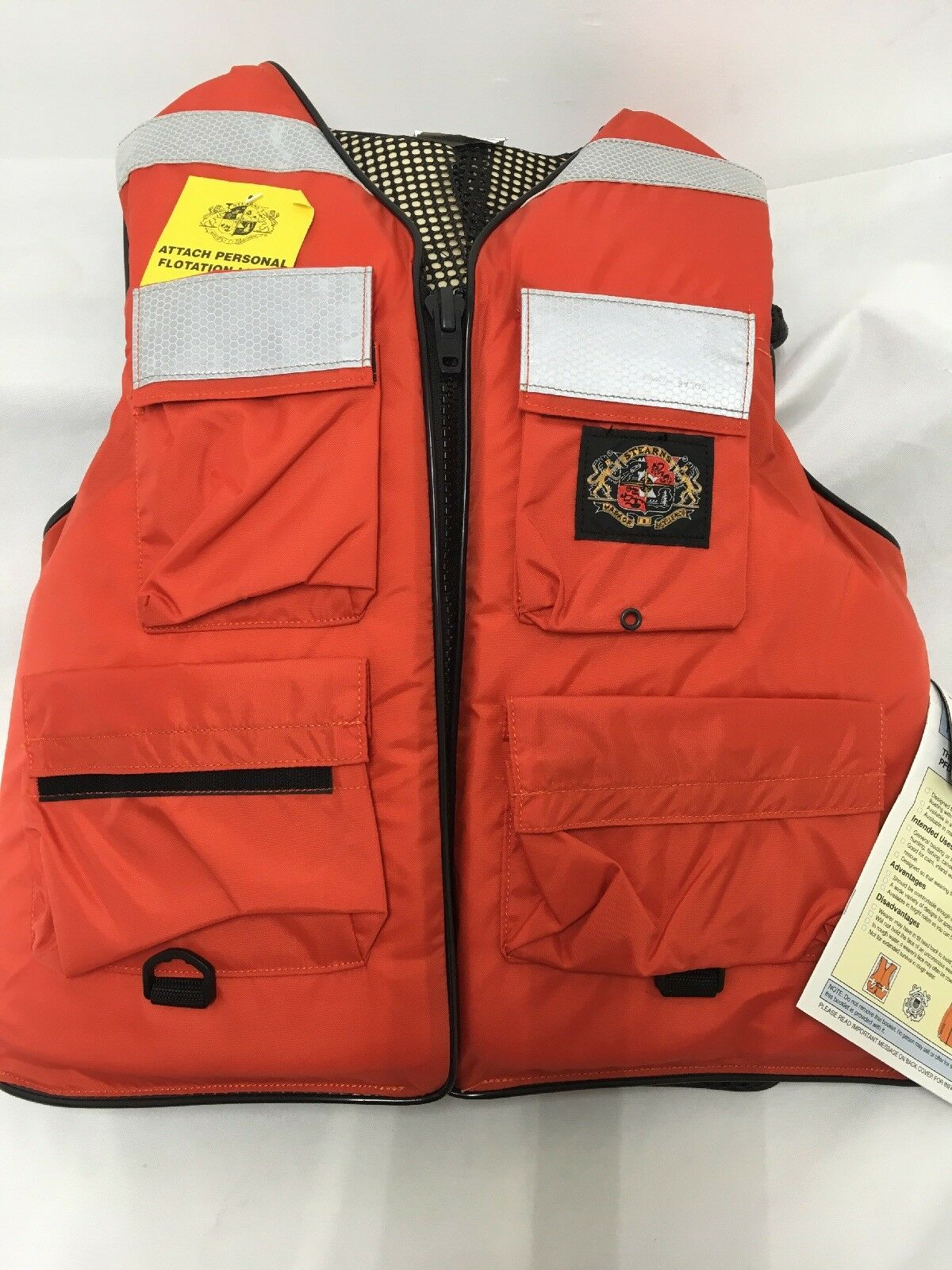 STEARNS TYPE IIII ADULT SMALL  orange PERSONAL FLOATATION DEVICE VEST MODEL I465  quality assurance
