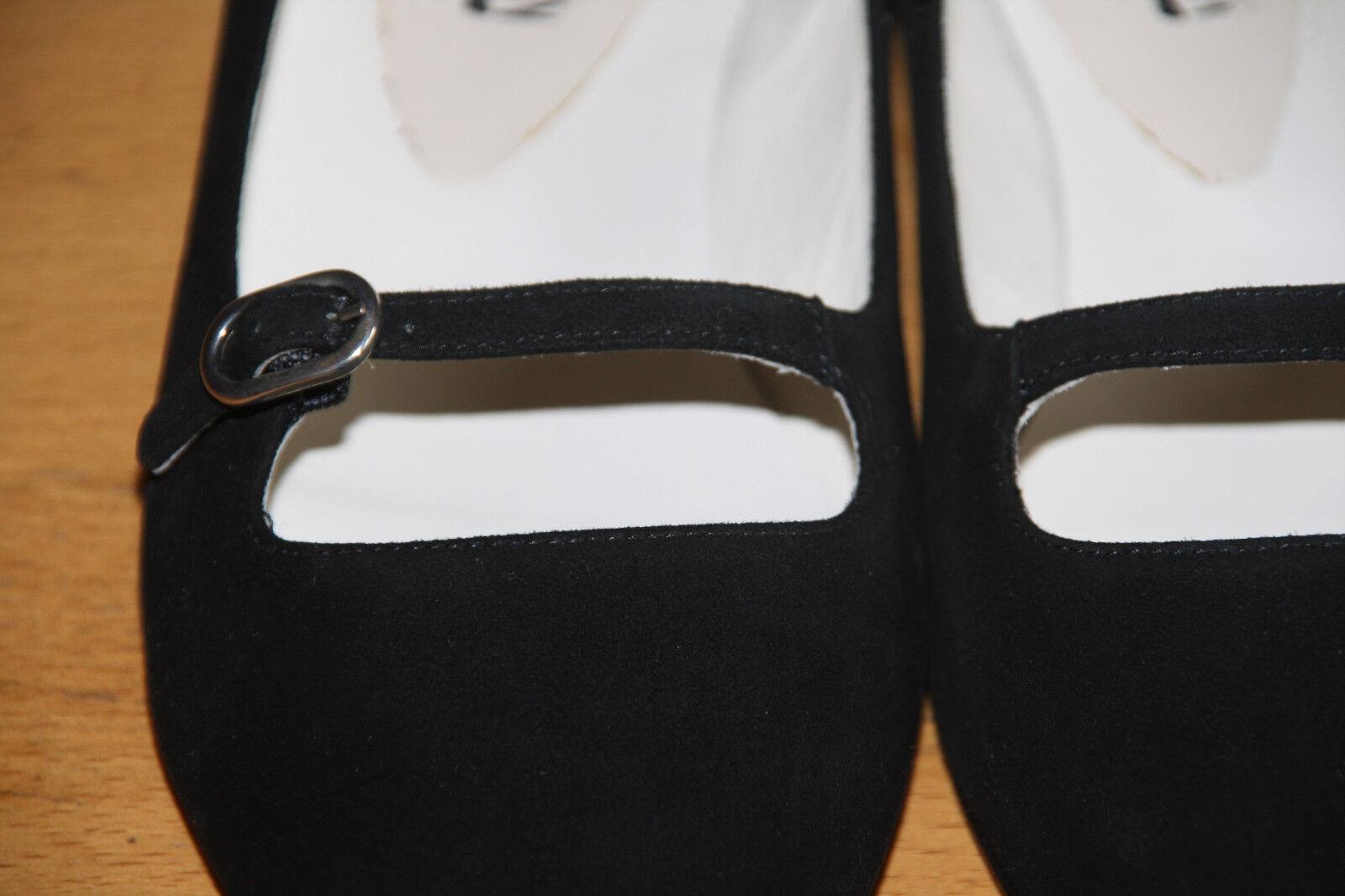 Spitzer Velour-Leder, Ballerina der Marke Caiman in schwarzem Velour-Leder, Spitzer Gr. 39  NEU 0411ef