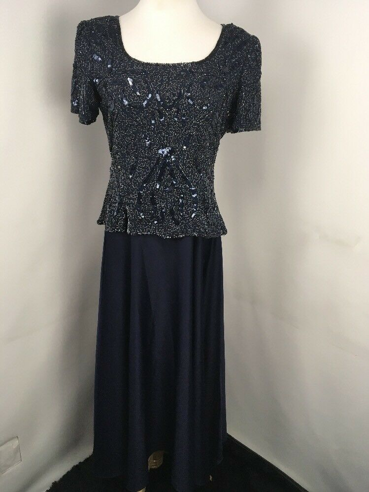 STENAY Navy bluee Sequin Beaded Formal Evening Full Skirt Sz 10 Long Dress MOB