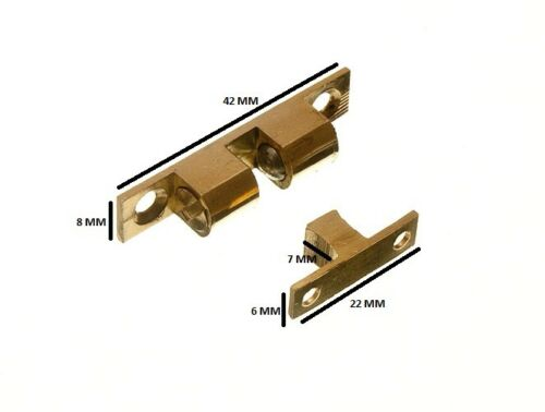 Adjustable Double Sprung Ball Catch Latch Brass 42mm + Fixings Pack 200