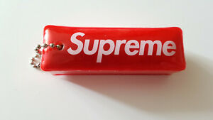 SUPREME-RED-PUFFY-3M-REFLECTIVE-KEY-CHAIN-FW14-AUTHENTIC-USED-EXCELLENT-KEYRING