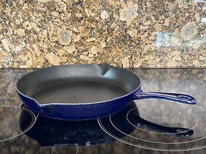 "STAUB France Dark Blue 12"" Cast Iron Fry Pan"