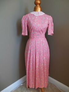 Vtg-LAURA-ASHLEY-Floral-Cotton-DRESS-Lace-Collar-Tea-Length-English-Garden-Sz-10