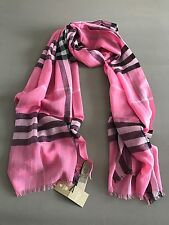 Burberry Check Lightweight Scarf / Rose Pink / Wool ~ Silk NWT!