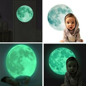 5-30cm 3D Large Moon Fluorescent Wall Sticker Removable Glow In The Dark Sticker