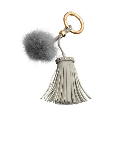 colgante para el bolso Trendfuxx-cuero lana con mini-fellbommel