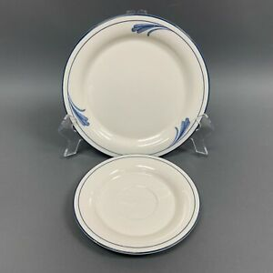 Lenox-Chinastone-Brushstrokes-For-the-Blue-Patterns-Salad-Saucer-Plates-Lot-of-2