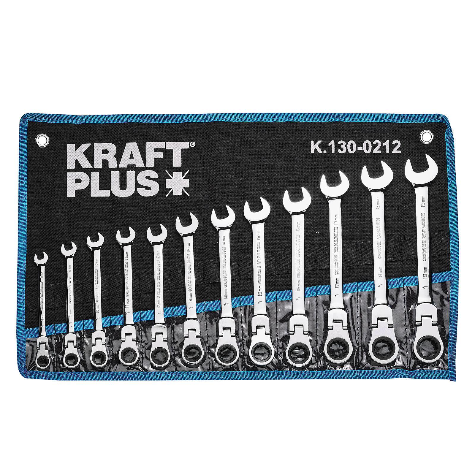 KRAFTPLUS® K.130-0212 Gelenk Ratschenschlüssel SW 8-19 mm Ring Maul Schlüssel