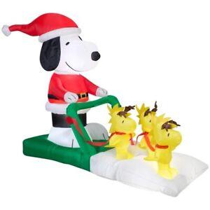 CHRISTMAS-5-FT-SNOOPY-WOODSTOCK-REINDEER-SLED-SLEIGH-Airblown-Inflatable