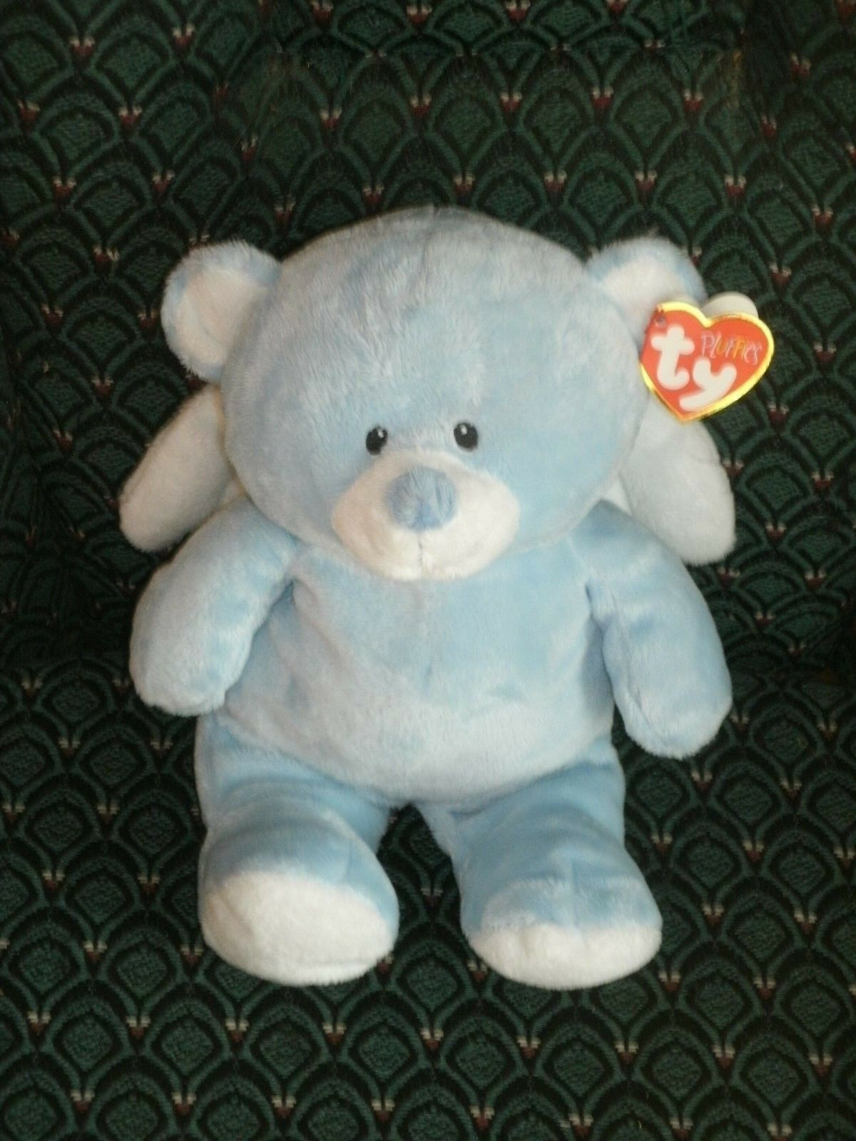 Ty Pluffies 8  LITTLE ANGEL (blueE Bear) Sewn eyes MWMT  RETIRED RARE TyLux