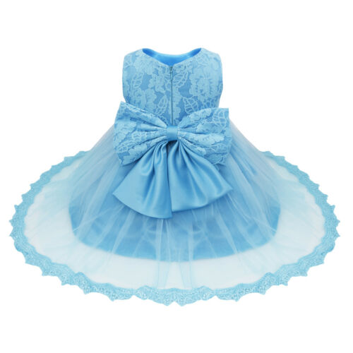 Baby Girls Lace Bowknot Wedding Birthday Party Flower Dress Christening Baptism