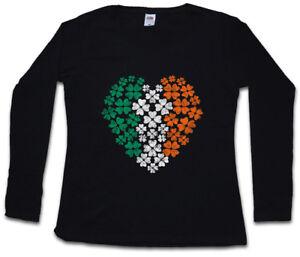 irlandais femme manches avec T pour longues trèfle de Shamrock Irlande à Irlande coeur motif shirt wXHcqEBP