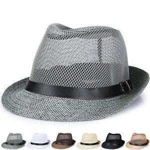 Unisex Hat Men Women Fedora Trilby Wide Brim Straw Cap Summer Beach Sun Panama