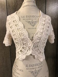 American-Eagle-Outfitters-Ivory-Cardigan-Shrug-Sweater-Women-039-s-Size-Large-EUC