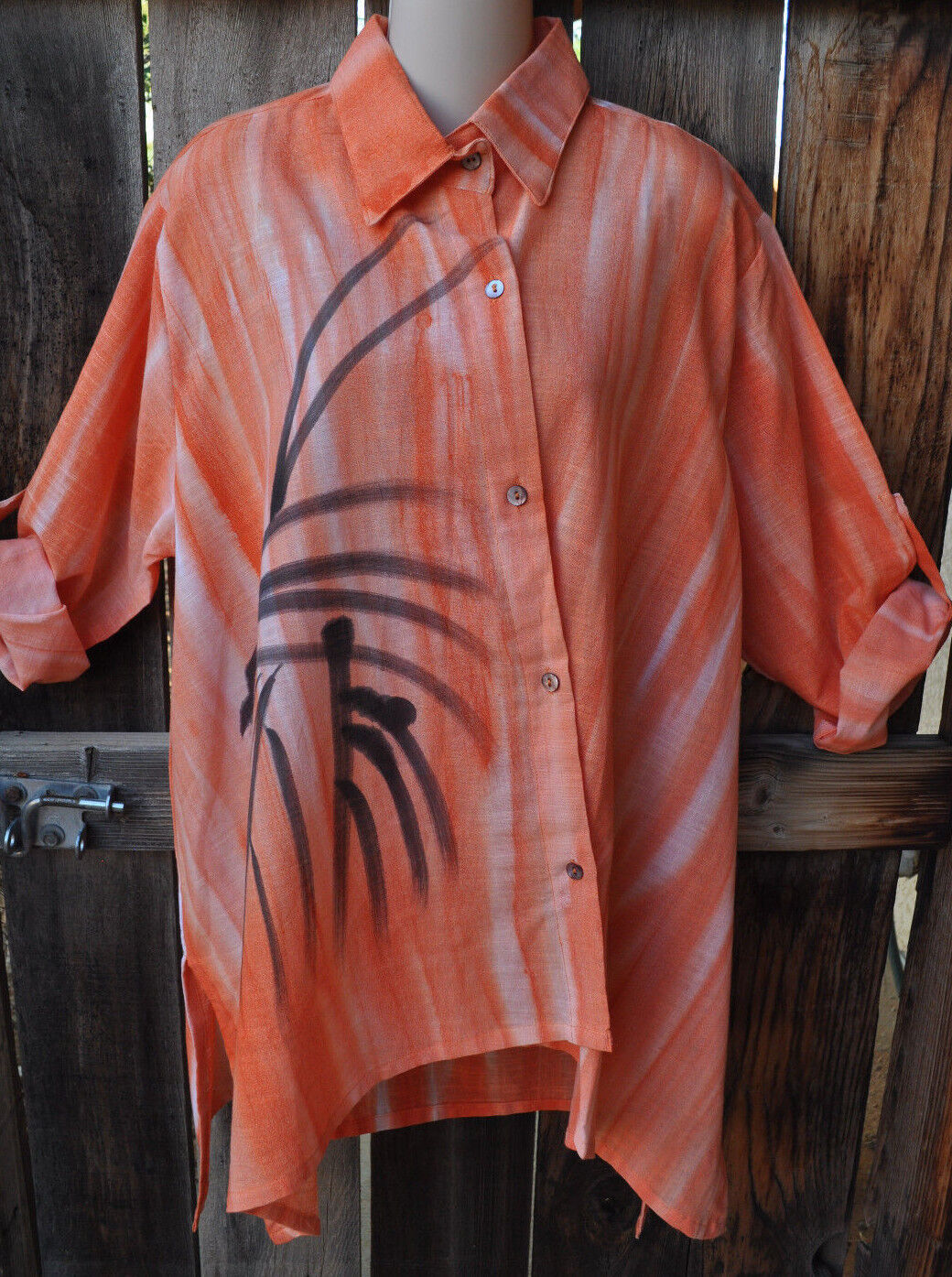 DILEMMA ART TO WEAR HAND WOVEN HAND PAINTED COTTON ASYMMETRIC SHIRT IN Orange,OS