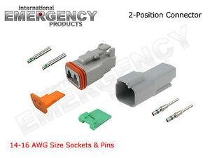 2-Pin-DT-Connectors-Set-Deutsch-14-16-AWG-Nickel-Kit-Male-Female-Gray-OEM-Solid