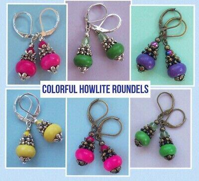 PURPLE JADE roundels drop earring SP LEVERBACK handcrafted