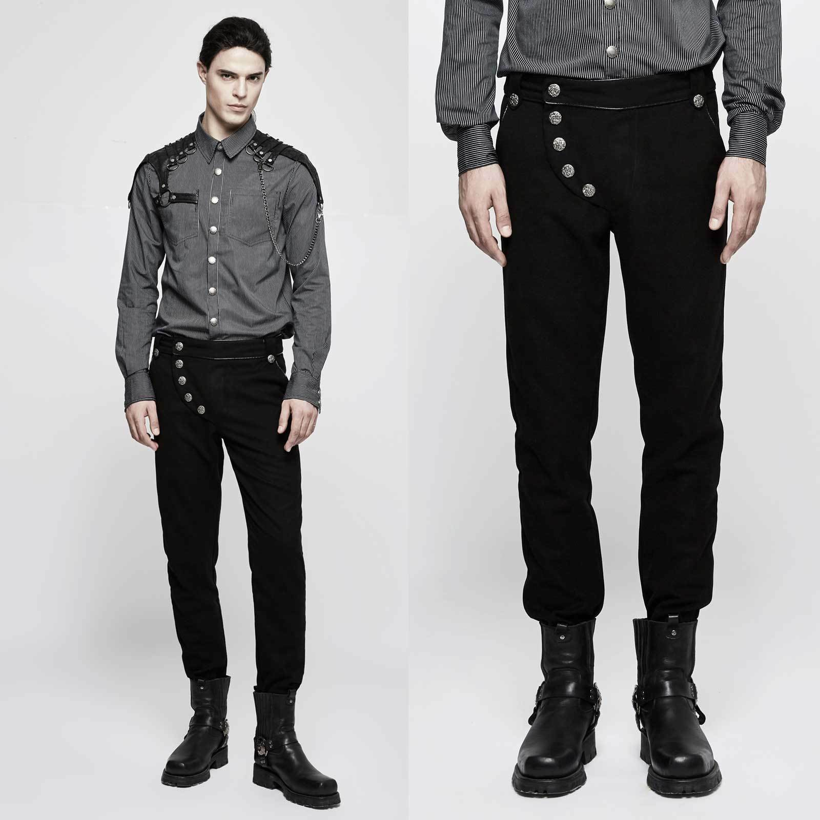 PUNK RAVE Uniformhose Schwarz Gothic Hose Auffälliger Schritt Military Pants