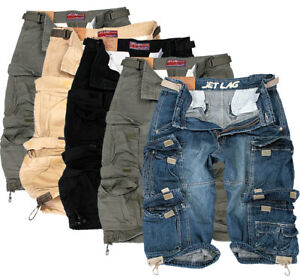 JET-LAG-Herren-Cargo-Shorts-Kurze-Hose-Lang-Short-Bermuda-3-4-Sommer-007B-Denim