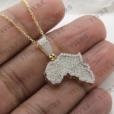 Men/'s 14K Yellow Gold Over 1.00 Ct Round Diamond Africa/'s Map Charm Pendant Gift