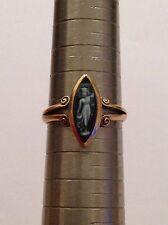Charming Vittoriano 18ct GOLD Marquise HARDSTONE Anello con Cameo-London 1896