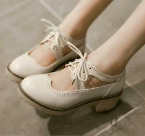 Women-039-s-Brogue-Low-Chunky-Shoes-Lace-Up-Round-Toe-Sandals-Block-Heels-Oxfords